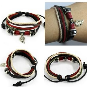 Leaf Black Leather Adjustable Bracelet